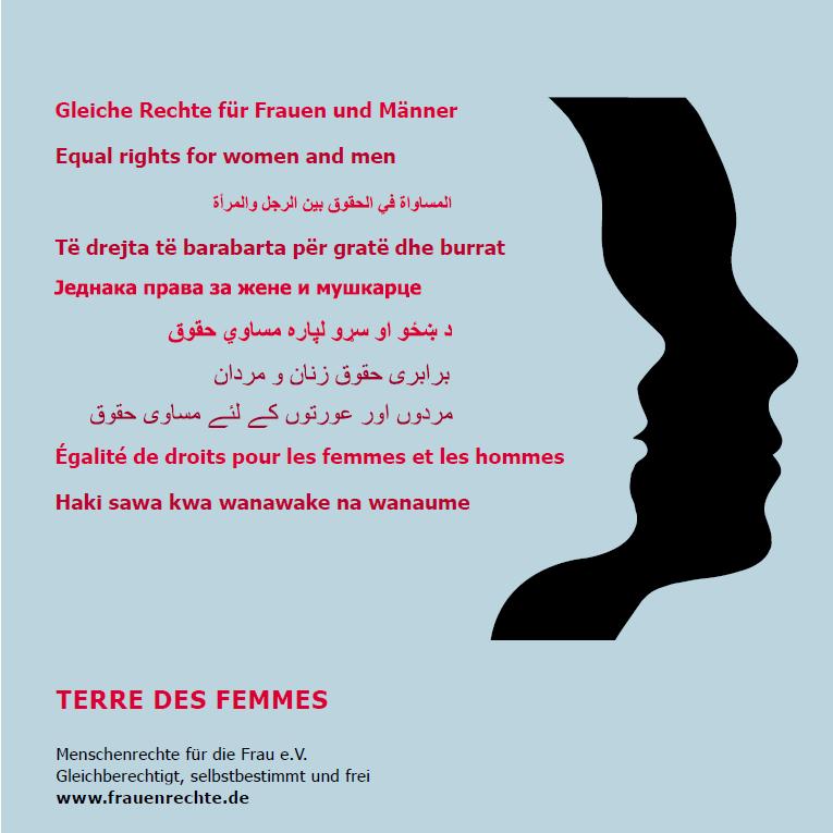 Terre des femmes: Gleiche Rechte für Frauen und Männer - Equal rights for women and men