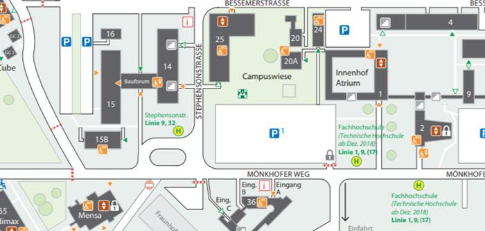 Campusplan der Technischen Hochschule Lübeck